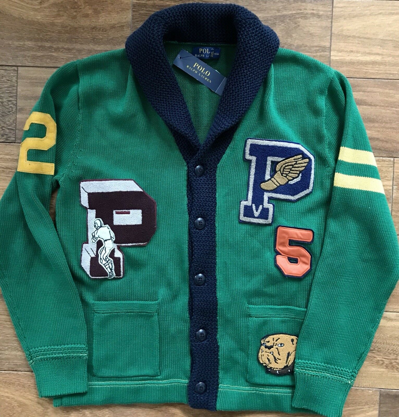 6d5ac152 POLO RALPH LAUREN Letterman Cardigan Sweater L. Varsity P-Wing Kelly Green  $248