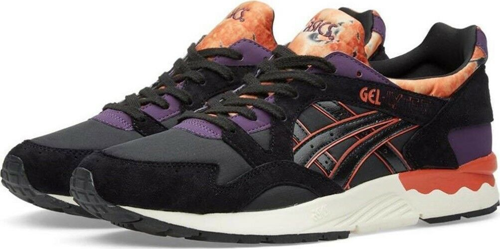 Asics Gel Lyte V H602N 9090 Black Purple Lace Up Casual Trainers