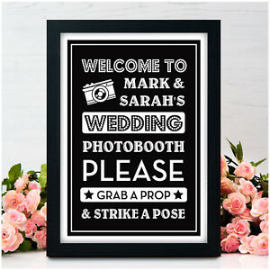 Personalised Wedding Photo Booth Signs Grab A Prop Signs Chalkboard