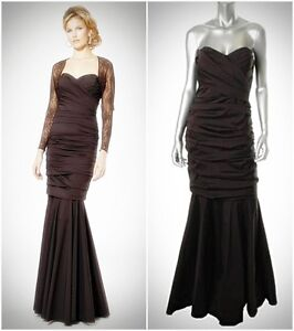 5a53ba258b TERI JON RICKIE FREEMAN  780 Brown Strapless Stretch Taffeta Dress ...
