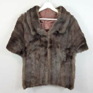 VINTAGE-1950-039-s-Genuine-Mink-Fur-Cape-Stole-Jacket-Size-AU-10-or-US-6
