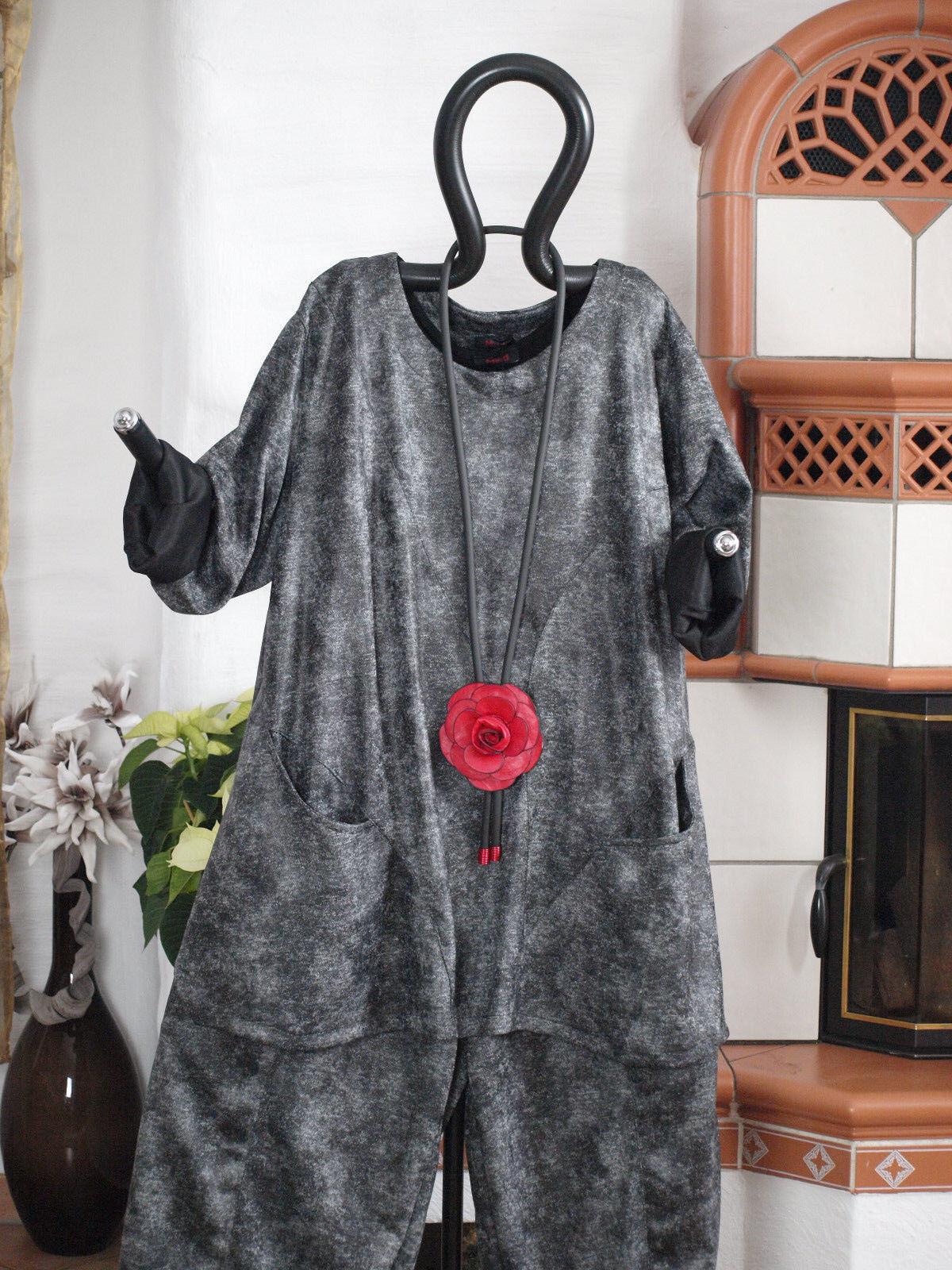 MEXXOO DESIGN Lagenlook Vintage Hemd Rundhals A-Form grau L 44 46 (8348)
