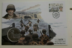Isle-of-Man-Coin-D-Day-First-Day-Cover-General-Omar-Bradley-1-Crown