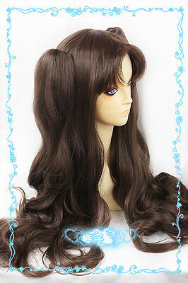 241 Fate/Stay Night Tohsaka Rin 80cm Dark Brown Cosplay Wig 2Clips wavy Ponytail