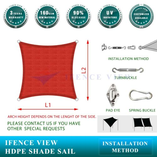 Ifenceview Red Square 18/'  Sun Shade Sail Pool Canopy Awning Outdoor Commercial