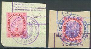 Lot-mit-2-Briefstuecken-Osterreichische-Konsulatsstempelmarken-Kairo-Duesseldorf