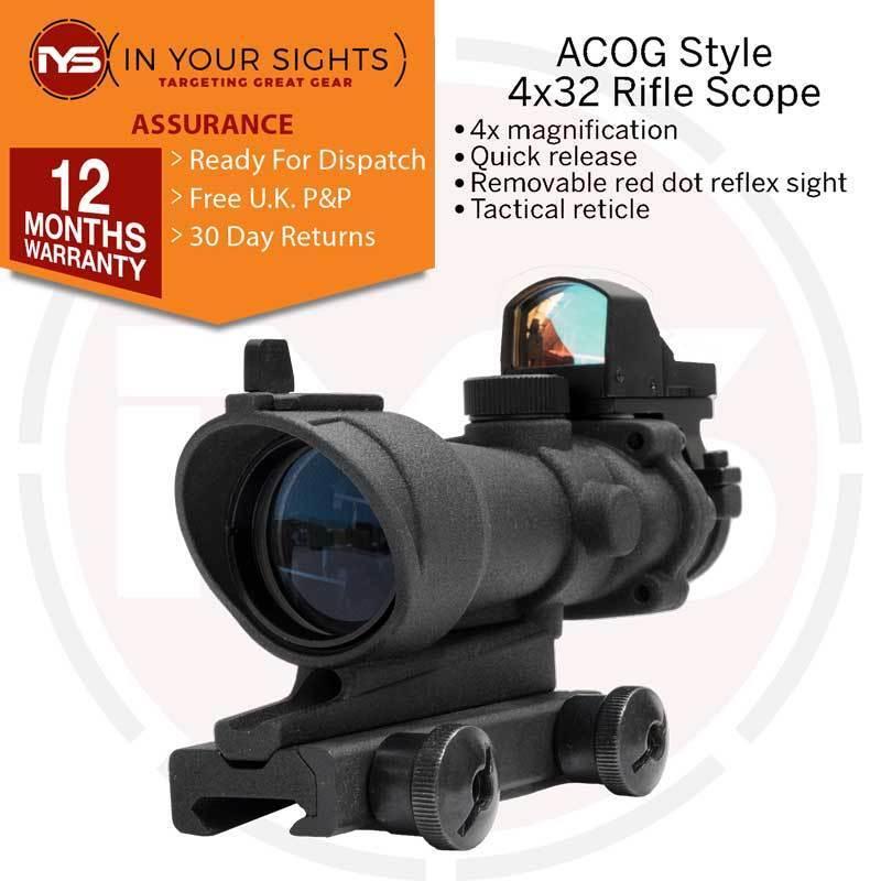ACOG style AIRSOFT FUSIL 4X32 Scope + rouge Dot Docteur viseur reflex Convient 20 mm Rail
