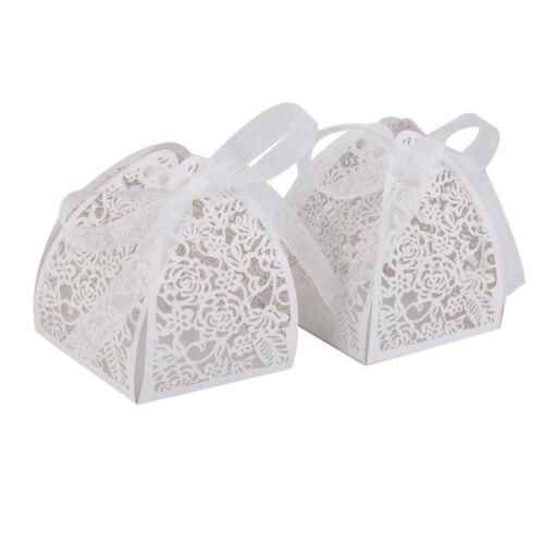 25 pcs Hochzeits Roseform Gastgeschenke Schachtel Bonbon Box Mit Band Weiß