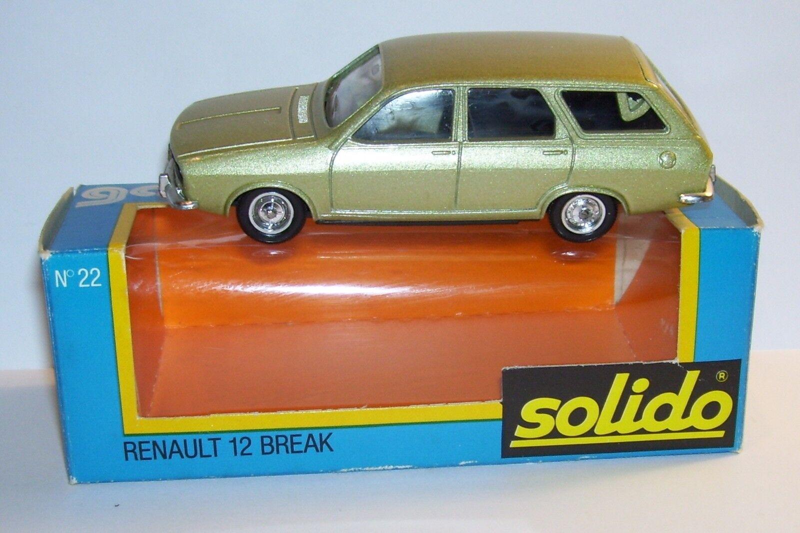 ORIGINAL RARE SOLIDO RENAULT 12 BREAK BREAK BREAK VERT CLAIR METAL 1975 REF 22 IN BOX bc5391