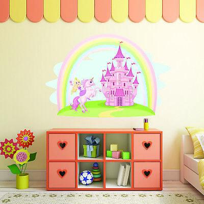 Castello Principessa Unicorn Wall Sticker Ragazze Fairytale Camera Da Letto Vivaio Art Uni001i-