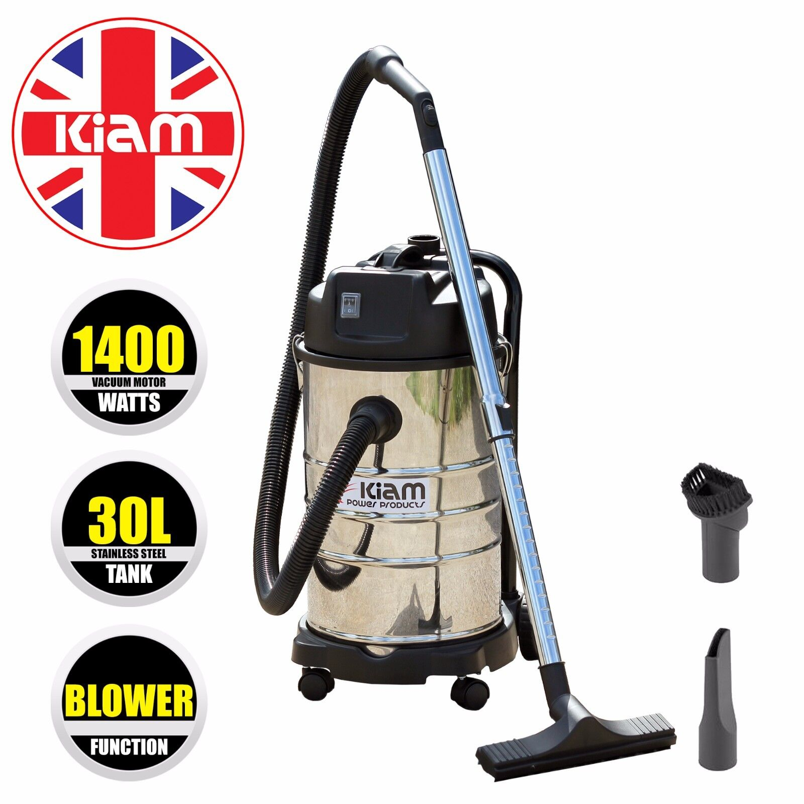30 litre wet & dry aspirateur avec souffleur 1400 watts en acier inoxydable cylindre