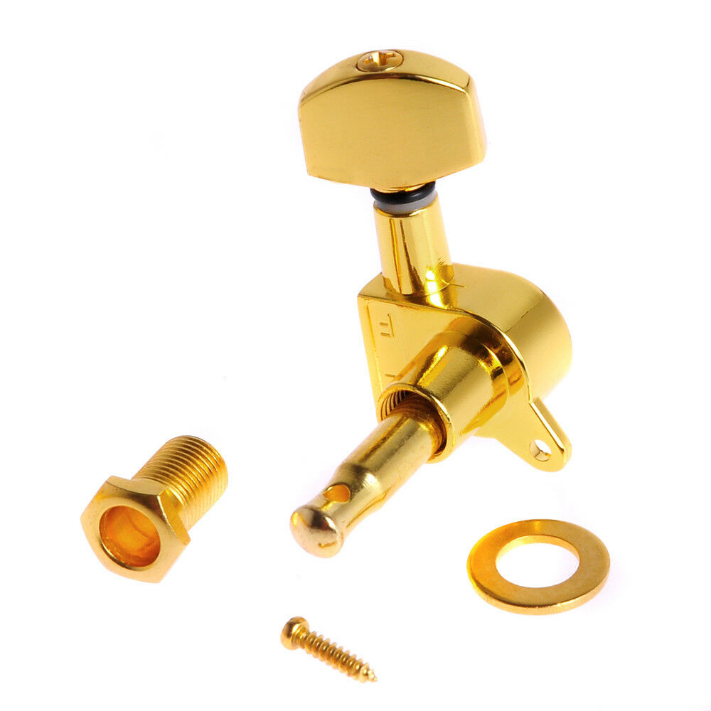electric guitar string inline tuning pegs machine heads tuners keys 6l gold 634458286756 ebay. Black Bedroom Furniture Sets. Home Design Ideas