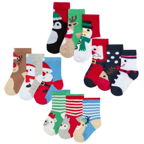 Bébés Bébé Garçons Filles Nouveauté Noël Chaussettes Stocking Filler riche coton Noël
