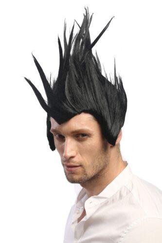 Wig Men/'s Women/'s Carnival Cosplay Rockabilly Punk Scene Iro Sideburns Black