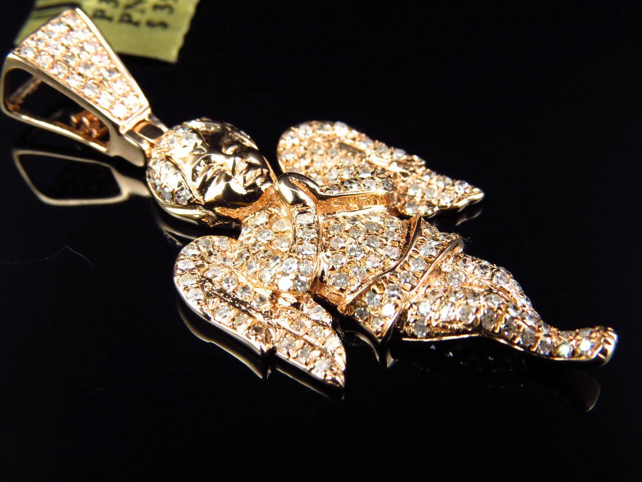 Brand New Elegant Genuine Diamond Angel Pendant Charm in 10k pink gold