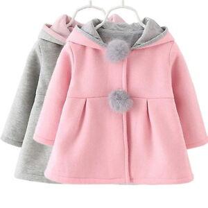 261cbb753 Details about Winter Warm Hoodie Coat Baby Girls Kids Cute Rabbit Ear  Jacket Clothes Outwear