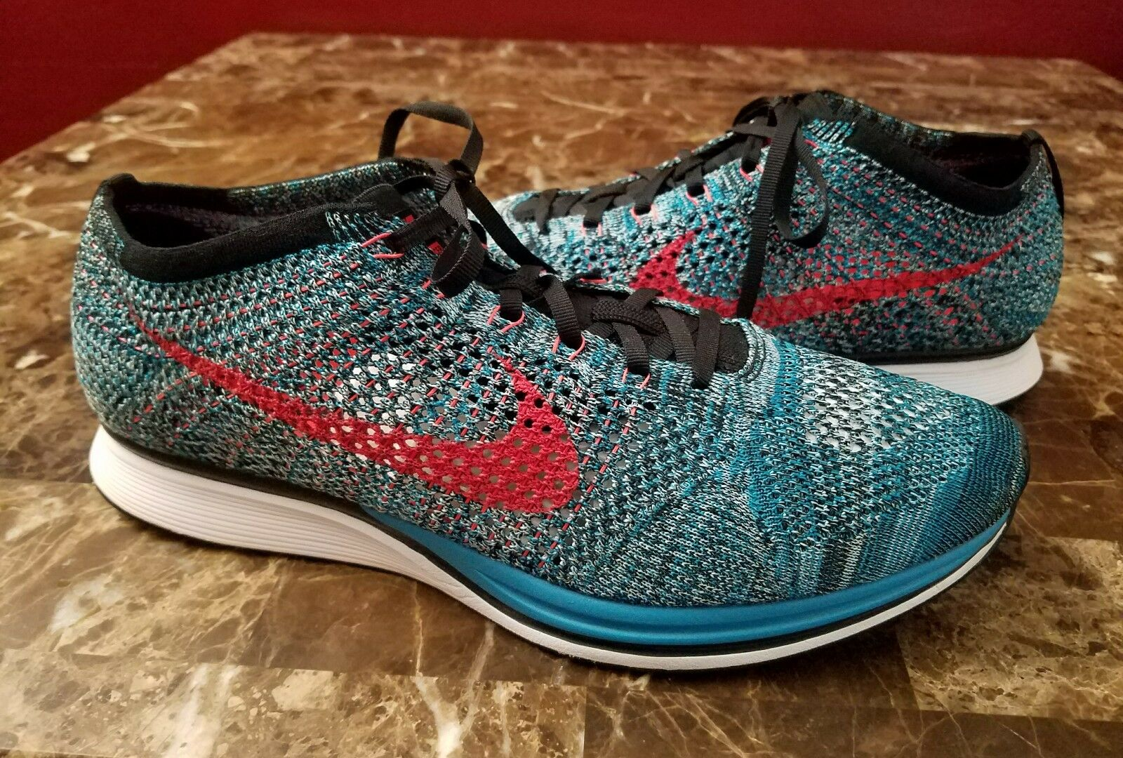 Nike Air Flyknit Racer Blue Neo Turquoise Mens sz Running Shoes Sneakers EUC