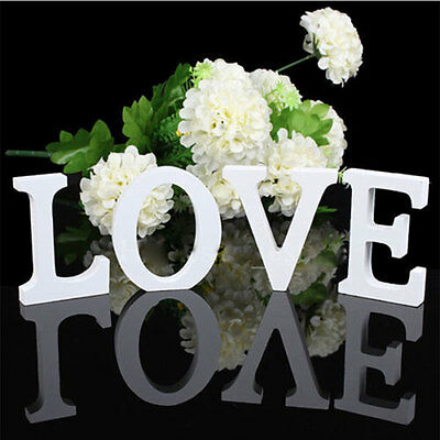 AU Wooden White Letter Alphabet Letter Toys Birthday Wedding Fashion Decorations
