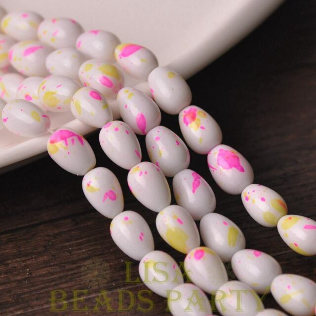 New 20pcs 11X8mm Teardrop Colorized Dots Loose Glass Spacer Beads White