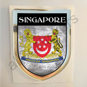 Sticker Singapore Resin Domed Stickers Singapore Flag 3D Vinyl Adhesive Decal