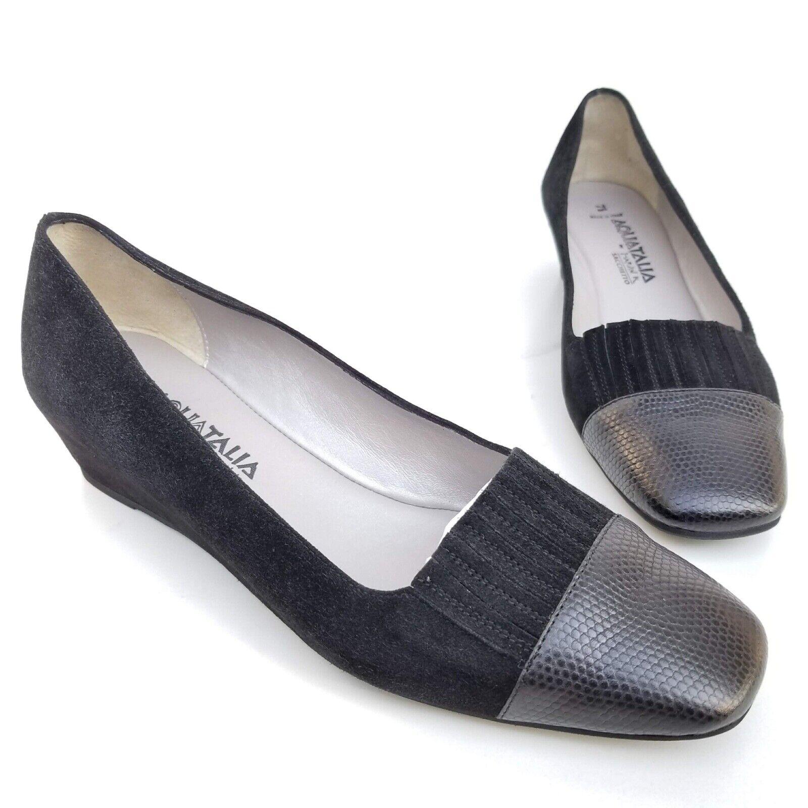 il più alla moda Aquatalia Marvin K  Wedge Loafer Slip Slip Slip On Pumps scarpe nero Suede Donna  7.5  nuovo stile