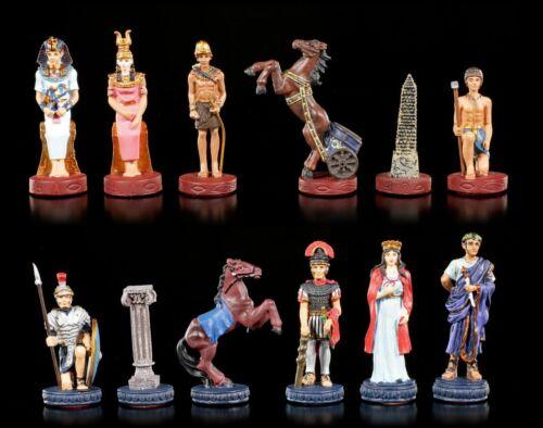 Handbemalt Schach Figuren Römer Zinn Schachfiguren Set Ägypter vs