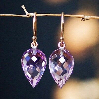 Pure Solid 14k.    Intense Violet African Amethyst  Earrings W/ leather box