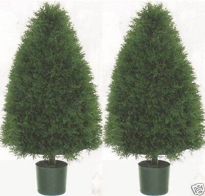 Artificial 3/' Outdoor UV Cedar Cypress 2 Ball Topiary Tree Pine Juniper 4 Patio