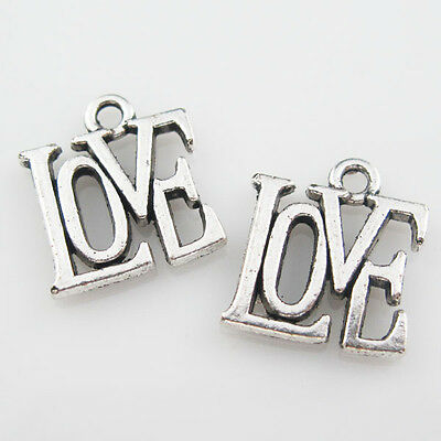 30Pcs Antiqued Silver Love Word Charms Pendants Jewelry Craft DIY 13x14.5mm L842