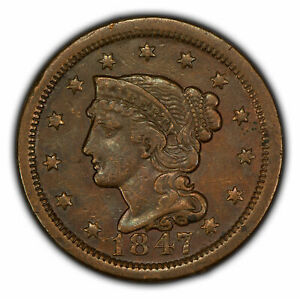 1847 1c Braided Hair Large Cent - High-Grade Coin - SKU-Y2772