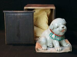 Antique-puppy-dog-Japan-Kutani-ceramic-sculpture-1880-039-s-kiln-art