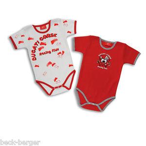DUCATI-CORSE-14-Baby-Body-Strampler-Set-2-Stueck-Einteiler-rot-weiss-NEU
