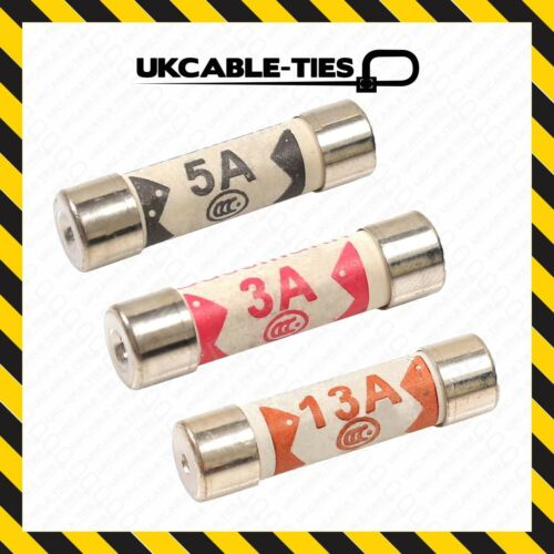 6X Assorted Mixed Fuses 3A//5A//13 AMP Domestic Fuse Household Mains Plug