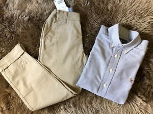 NEW H/&M AND RALPH LAUREN BOYS 2 PC DRESS OUTFIT PANTS /& SHIRT SIZE 9-10Y