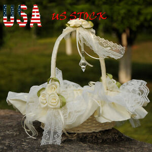 New-Beatiful-Satin-Bowknot-Flower-Girl-Basket-for-Wedding-Ceremony-Party-IvoryUS