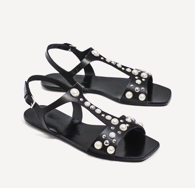 Zara Sandalias Planas Con Tiras adornado con perlas talla talla talla 8 EE. UU.  barato