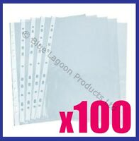 100 x A4 Clear Plastic Punched Punch Pockets Folders Filing Wallets Sleeves