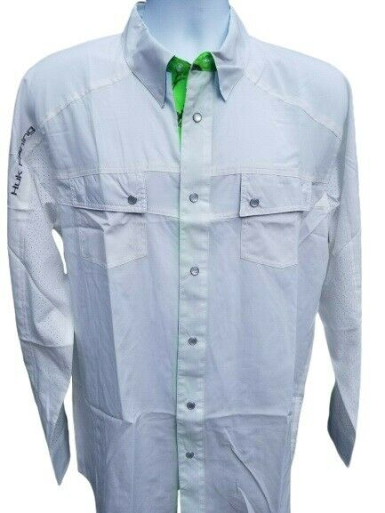 Huk Next Level White Long Sleeve Pearl Button Fishing
