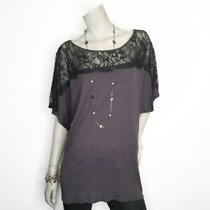 New-Michael-Stars-Anthopologie-One-Size-Lace-Black-Gray-Tunic-Top-Shirt-Blouse