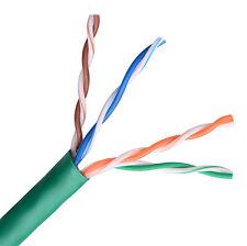 CAT5e CMR 350MHz Ethernet UTP Cable Green 1000FT STRANDED BARE COPPER - NOT CCA