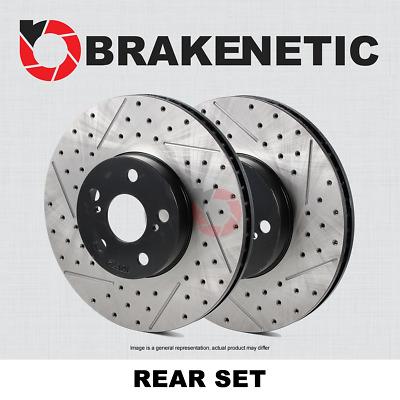 BRAKENETIC PREMIUM Cross DRILLED Brake Disc Rotors JCW BNP34113.CD REAR SET