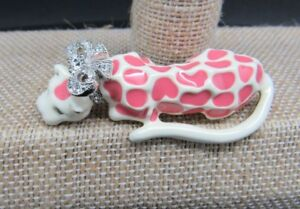 KENNETH-J-LANE-KJL-LEOPARD-CAT-PINK-AND-WHITE-ENAMEL-CRYSTAL-BOW-PIN-BROOCH-VERY