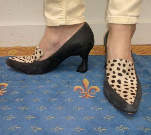 John Fluevog Size 6.5 Animal Print Leather Suede H