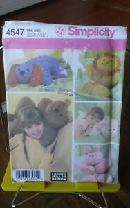 Oop-Simplicity-Longia-Miller-4547-animal-pillows-lamb-bunny-lion-bear-dog-NEW