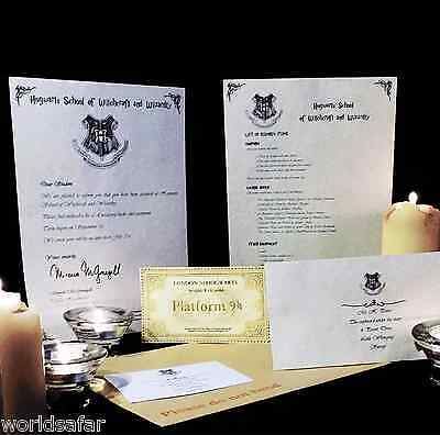 HARRY POTTER HOGWARTS ACCEPTANCE LETTER PERSONALISED GIFT +FREE EXPRESS TICKET 1