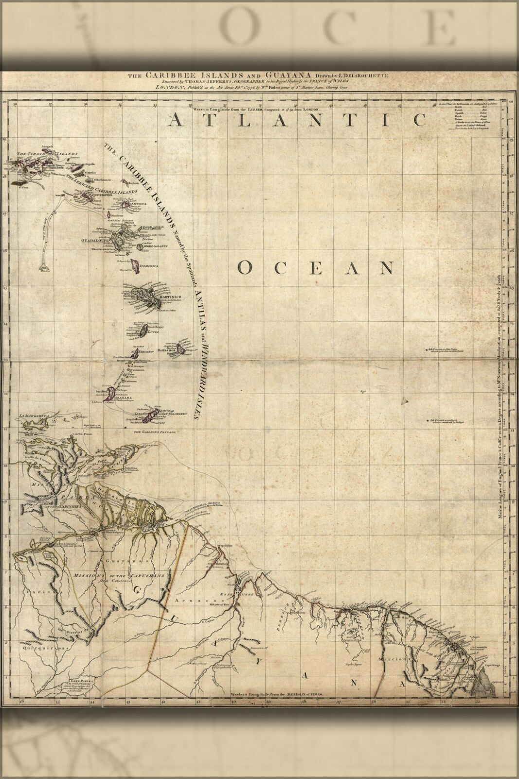 Poster, Many Größes; Map Of Caribee Islands And Guyana 1777