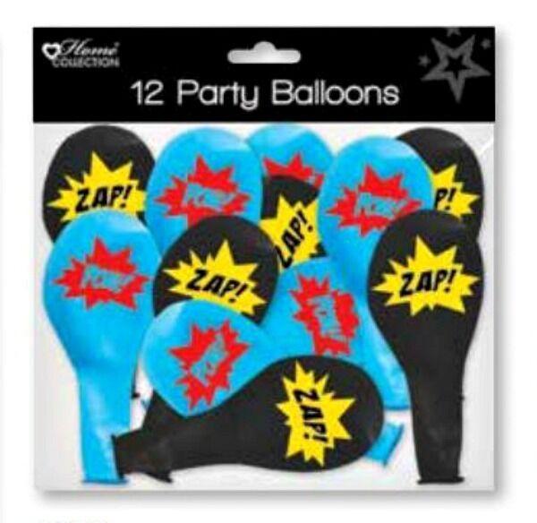 12 super héros ballons décorations de fête anniversaire enfants noir bleu
