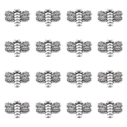 50pcs Tibetan Silver Alloy Dragonfly Beads Nickel Free Mini Metal Spacer 10x15mm