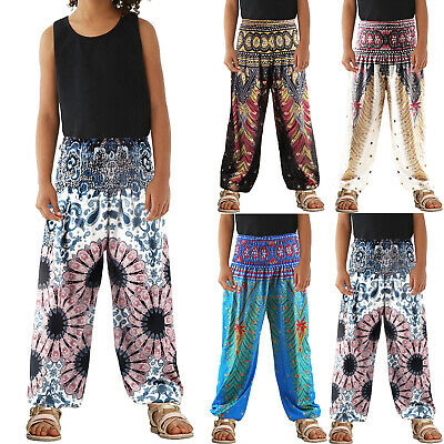 Girls Harem Pants Baggy Ali Baba Dance Party Leggings 4 to 13 Years