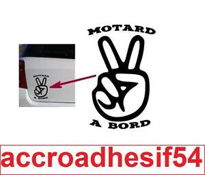 Sticker-Autocollant-MOTARD-A-BORD-Vinyl-brillant-couleur-au-choix